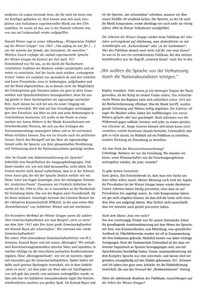 Interview mit Gerhard Rühm mit der Redakteurin Lina Bibaric