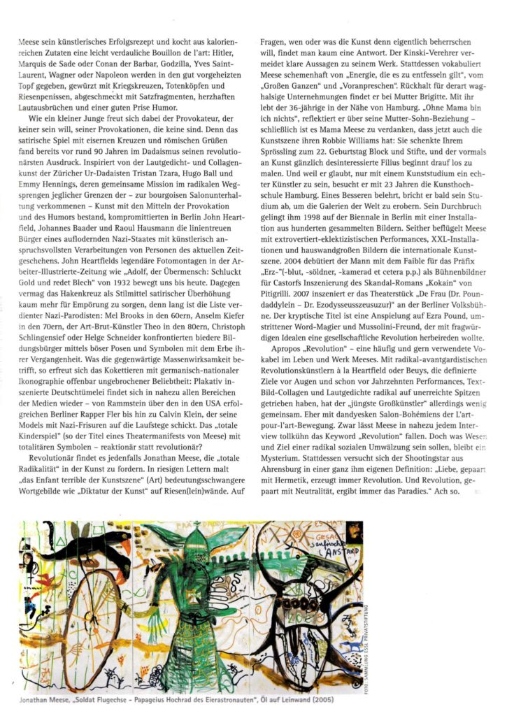 Rezension über den Künstler Jonathan Meese der Redakteurin Lina Bibaric