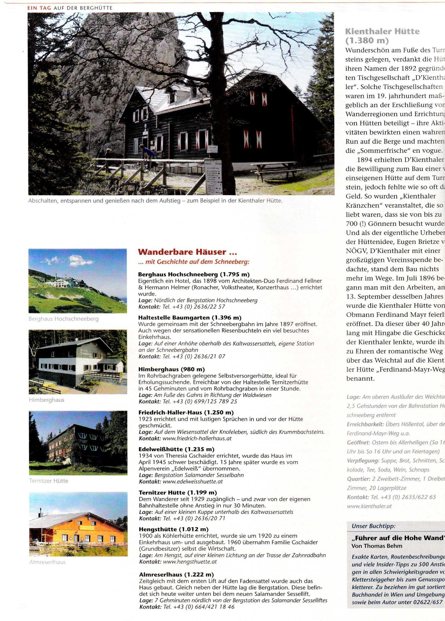 Tourismus-Region Wiener Alpen | Idee, Konzept, Recherche, Bildredaktion, Text