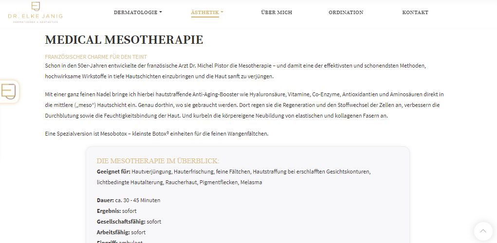 Beispiel einer Unterseite mit Texten von Lina Bibaric | Dr. Elke Janig | LiNAs BÜRO