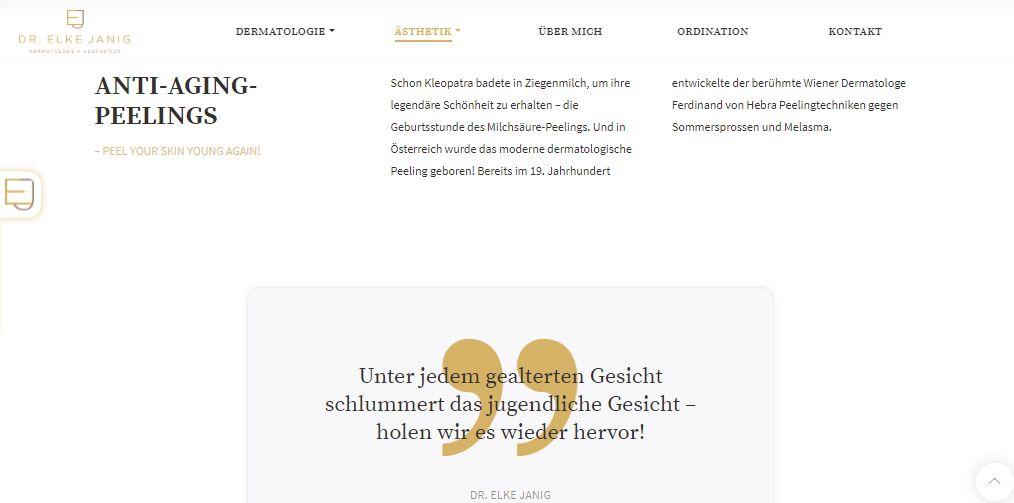Beispiel einer UnText Website Dr. Elke Janig | www.janig-derma.atterseite mit Texten von Lina Bibaric | Dr. Elke Janig | LiNAs BÜRO
