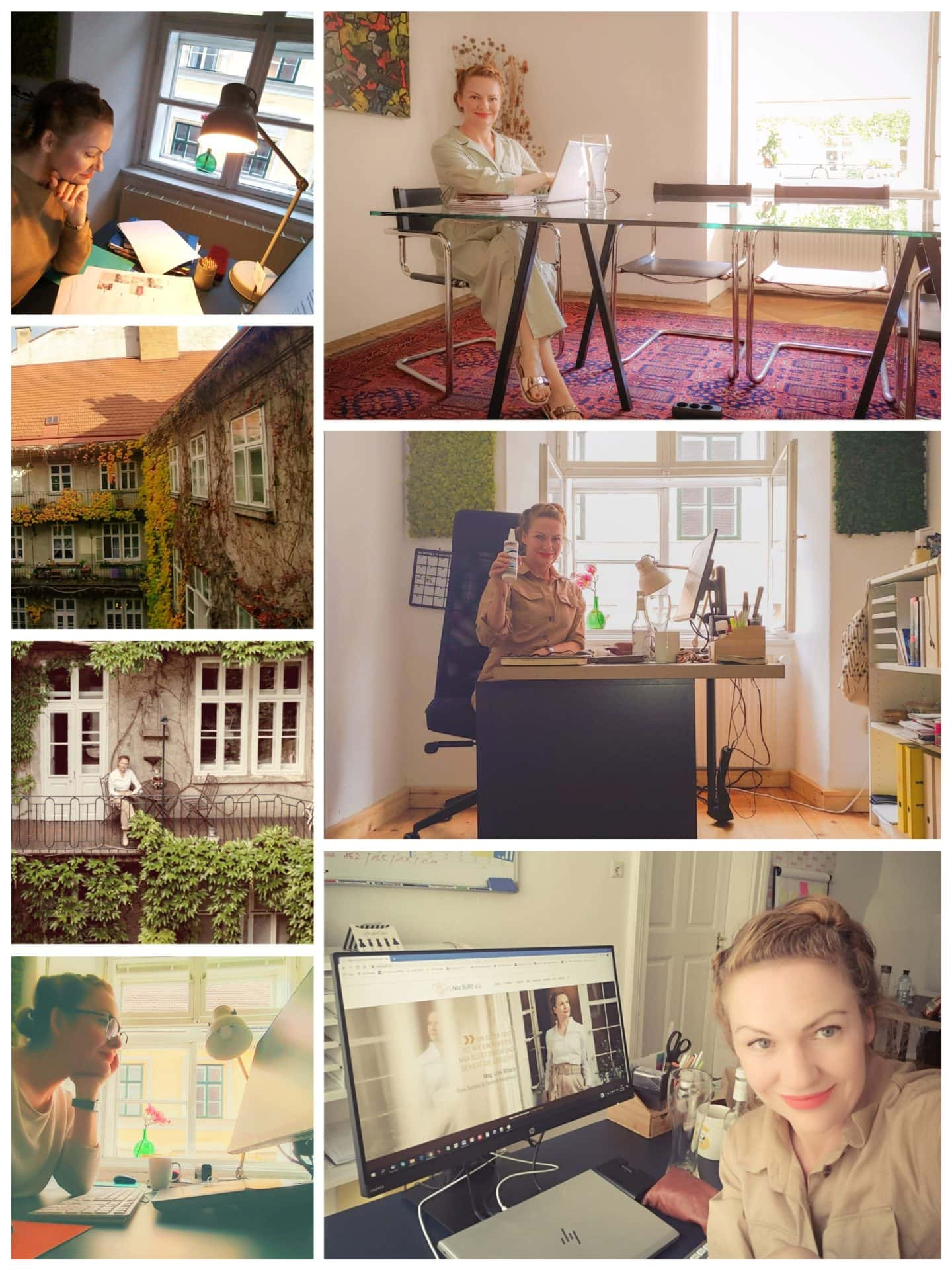LiNAs Büro, Collage aus Fotos.