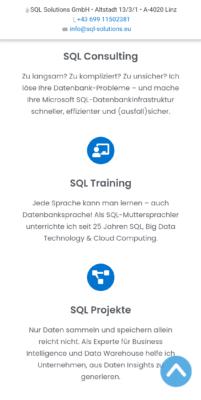Mobile Startseiten-Section der drei Kernthemen als Kurzteaser