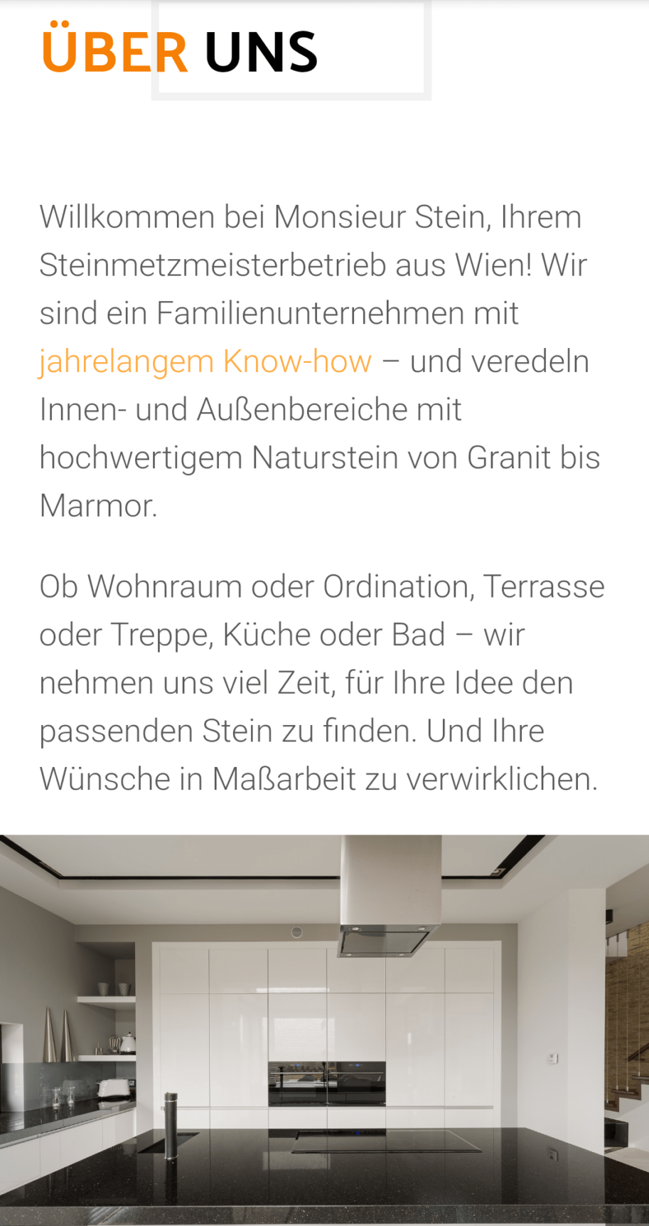Monsieur Stein, Steinmetzmeisterbetrieb Wien, Screenshot der Website