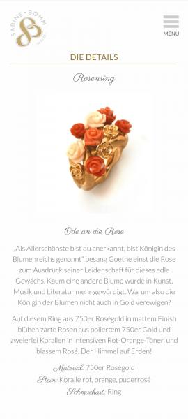 Website Sabine Bomm, Screenshot LiNAs BÜRO