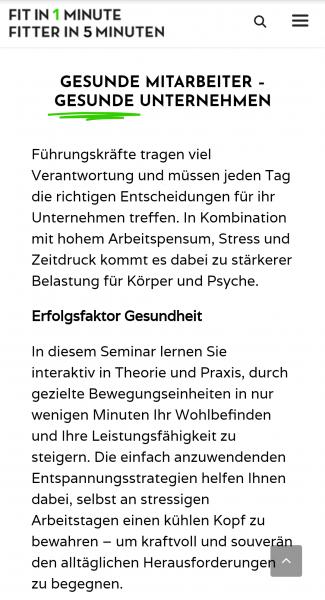 Fit in 1 Minute, Website Dr. Pratscher, Screenshot   Text: Lina Bibaric, LiNAs BÜRO