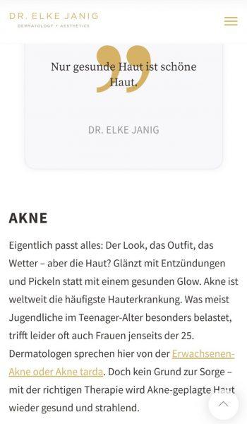 Textbeispiel Website Mag. Dr. Elke Janig, Dermatologin, Wien | www.janig-derma.at
