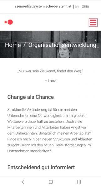Screenshot Website der Unternehmensberaterin Marta Szemredi in Wien, Text von Lina Bibaric