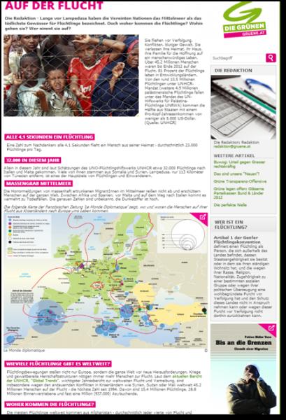 Grüne Bundeswebsite, Artikel über Migration