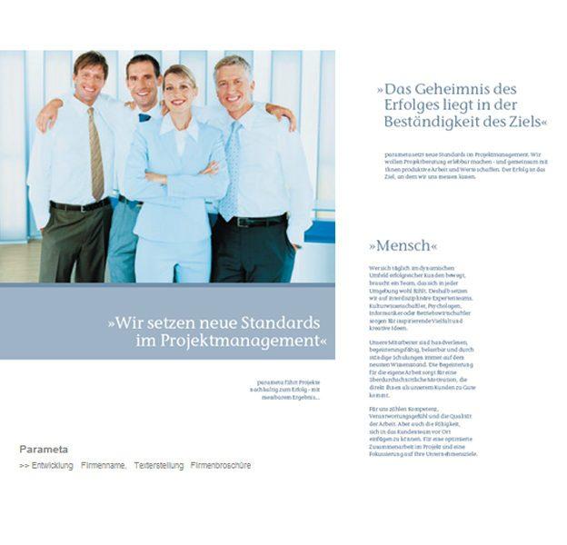 Unternehmensberatung PARAMETA Köln, Namens-Entwicklung & Text Firmenbroschüre Lina Bibaric