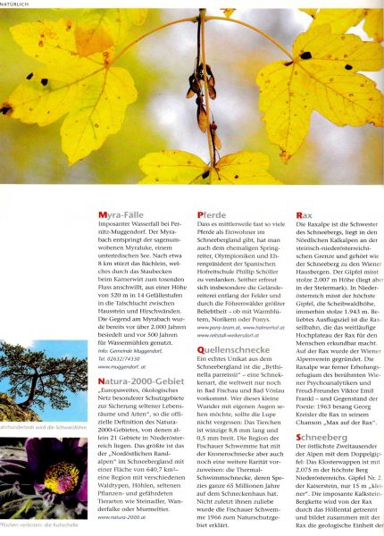 Tourismus NÖ, Naturlexikon   Idee, Konzept, Recherche, Bildredaktion, Text